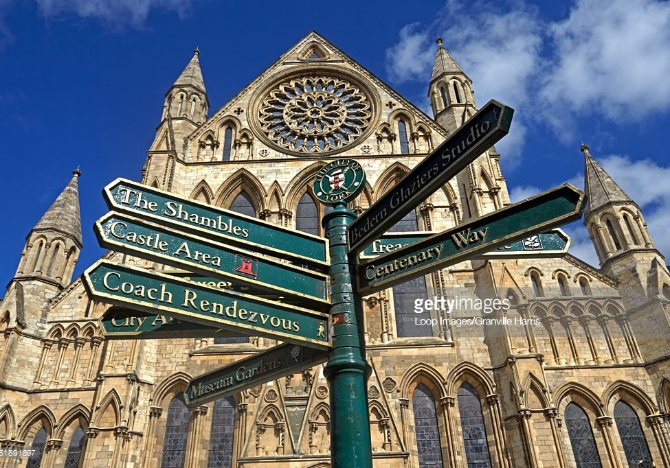 A signpost outside York Minster.